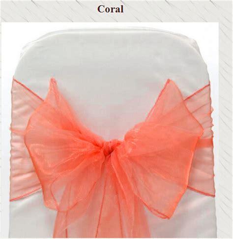 100pcs coral banquet chair sash for weddings organza for