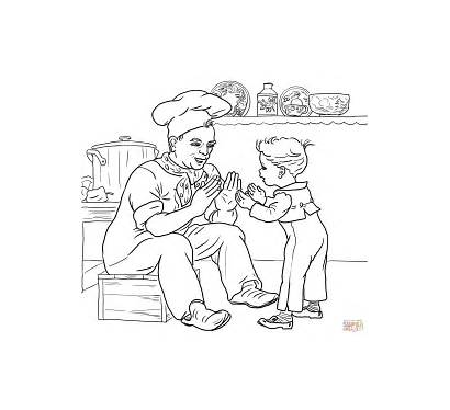 Pat Cake Coloring Nursery Printable Rhymes Pages