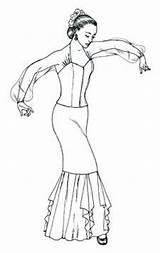 Flamenco Costume Dance Coloring Dancer Colouring Costumes Raquel Lopez Drawing Dancers Dancing Ballerina Printable sketch template