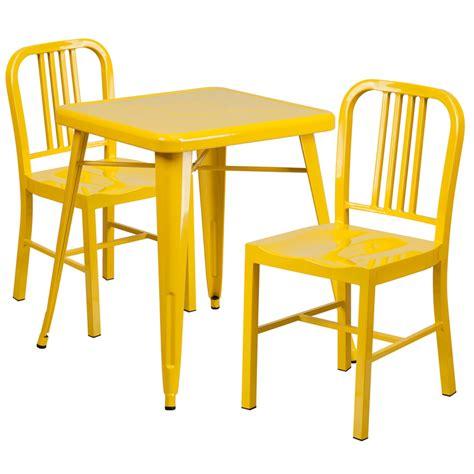 yellow metal indoor outdoor table set w 2 vertical slat