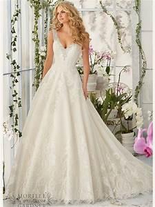 mori lee 2813 v neck tulle ball gown bridal dress With v neck wedding dress