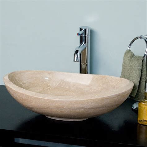 curved oval polished beige travertine platform vessel sink
