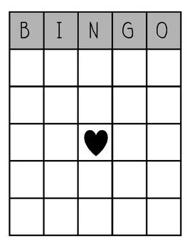 blank bingo board  katie afanador teachers pay teachers