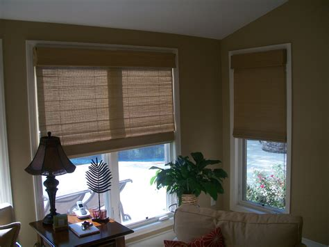 cover  triple window  woven wood shades