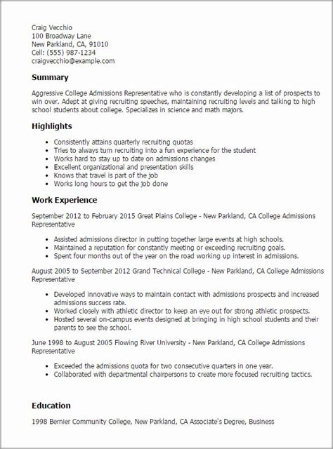 college admission resume template inspirational