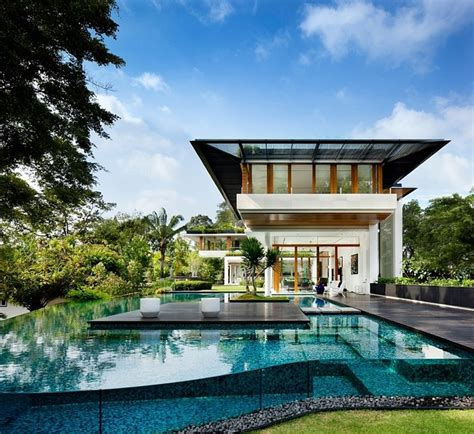 house architecture tropical bungalow inspired residence in singapore by guz Tropical
