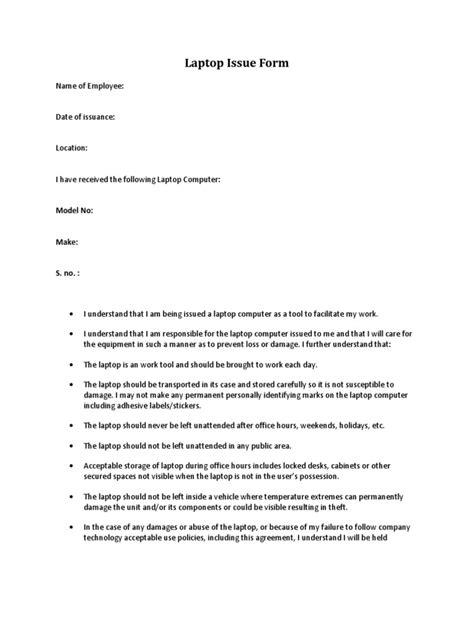 laptop issue form laptop employment
