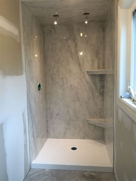 subtle grey marble ite shower paired   bright white