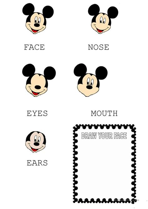 mickey mouse face worksheet  esl printable
