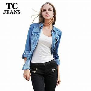 TC Plus Size Denim Shirt Women Clothing Nostalgic Gradient Jeans Shirt Vintage Womens Camisa ...