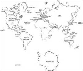 Black and White Labeled World Map Printable