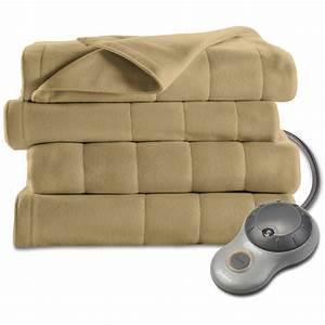 Sunbeam Electric Heated Fleece Blanket Home Indoor