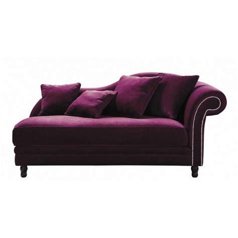 chaise longue in velvet chaise longue in aubergine scala maisons du monde