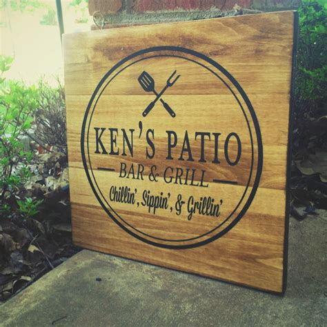 custom patio sign bar and grill sign s by