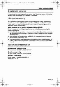 Bose 329009 Wireless Speaker User Manual Manual