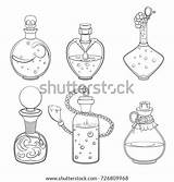 Potion Bottle Drawing Tattoo Template Coloring Outline Magic Sketch Halloween sketch template