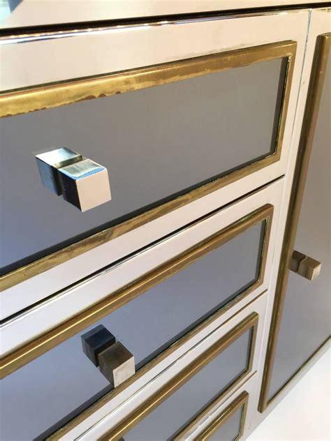 teak kitchen cabinets michel pigneres sideboard credenza mirror metal chrome 2678