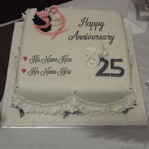 happy wedding anniversary couple design cake write   image