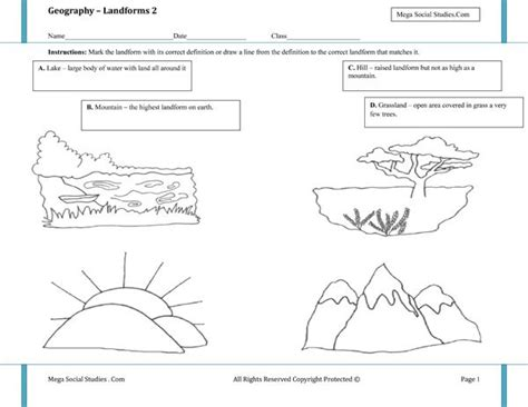 landforms and waterforms worksheets for grade 3 landforms worksheet 2 homeschooling earth science