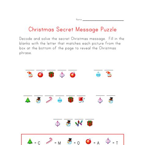 Christmas Puzzle Worksheet  Decode The Christmas Message  All Kids Network