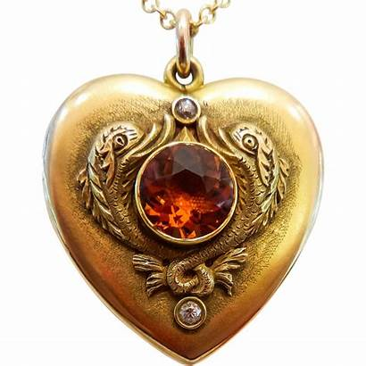 Victorian Heart Locket Gold Shaped Antique Yellow