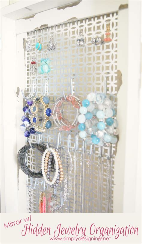 mirror  hidden jewelry storage diy space saver jewelry