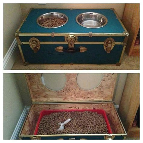 elevated cat food table how to build a dog food station with storage your