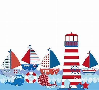 Nautical Clip Clipart Printable Border Sailing Lighthouse
