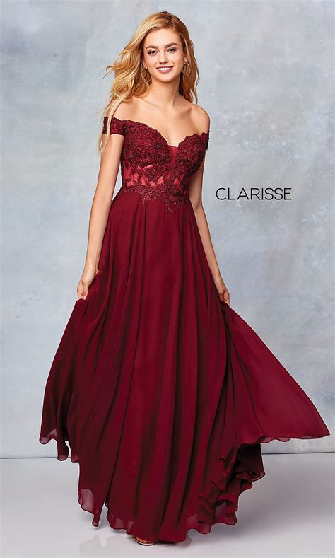 Clarisse Prom Dress with a Sheer Embroidered Bodice ...