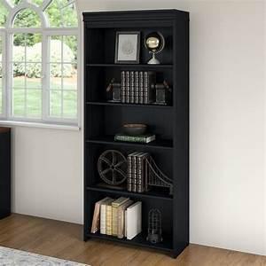 5, Shelf, Bookcase, In, Antique, Black