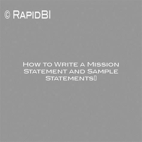 write  mission statement  sample statements