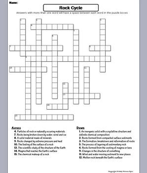 The Rock Cycle Worksheet Crossword Puzzle (geology Unit) By Science Spot