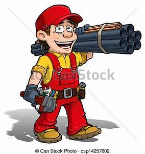 Handyman - plumber red. Cartoon illustration of a handyman ...