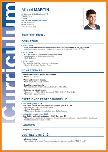 Type Cv Word by Cv Type Exemple De Cv Word Alienbar