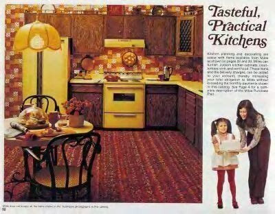 70's Kitchens For Some Reason, Avocado Green And Pea Yellow With Dark Wood Cabinets Were The