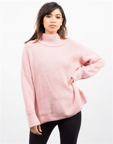 oversized pink sweater oversized turtleneck sweater pink top knit sweater