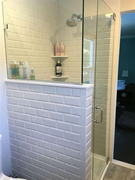 master bathroom shower  beveled subway tiles