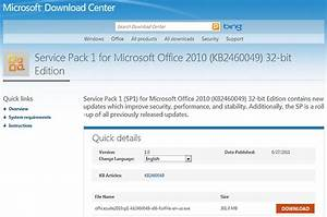 office 2010 service pack 1 and version 2 of the office With microsoft kb article template