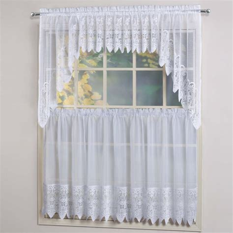 swag kitchen curtains united curtain valerie voile and macrame kitchen swag