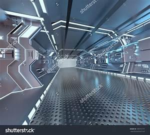 futuristic design spaceship interior with metal floor and ...