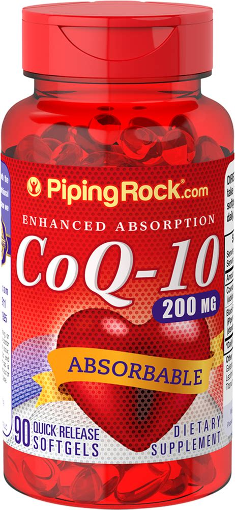 Absorbable CoQ10 200 mg | 90 Softgels | Piping Rock Health ...