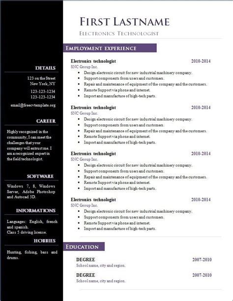 resume template open office resume templates for