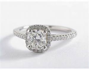 Cushion cut halo engagement rings wedding promise for Cushion cut engagement rings with wedding band