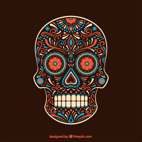 colorful sugar skull ornamental colorful sugar skull vector free