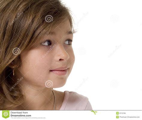 mooi meisjes zijprofiel gezicht stock