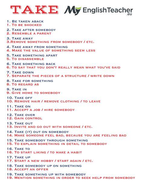 19 Most Common Phrasal Verbs With Take! Myenglishteachereu