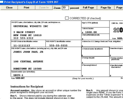 form 1099 int prepared by quick easy 1099 w2