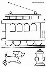 Coloring Pages Train Printable Caboose Cars Trains sketch template