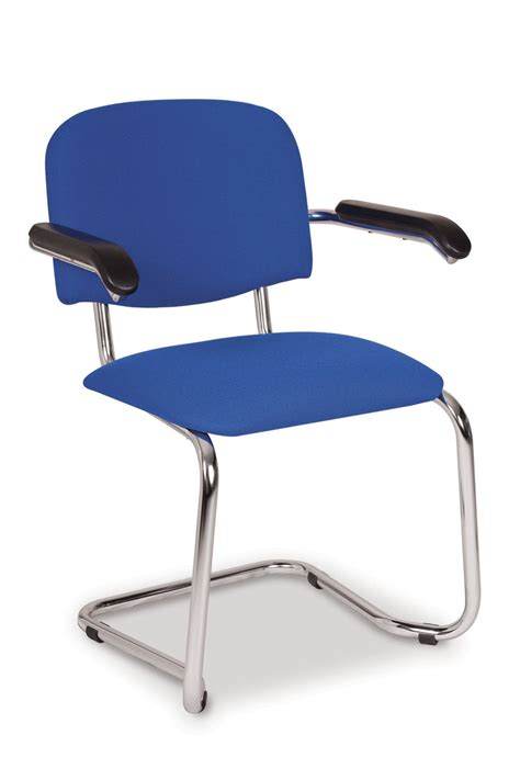 chrome cantilever visitor conference chair with or