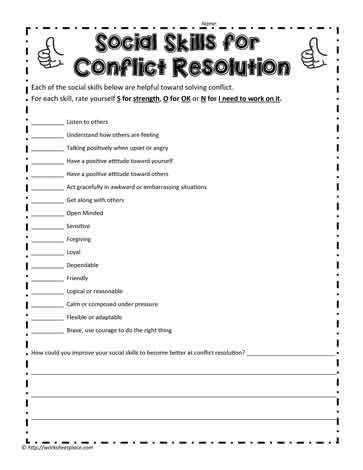 social skills worksheet  kids worksheet resource plans